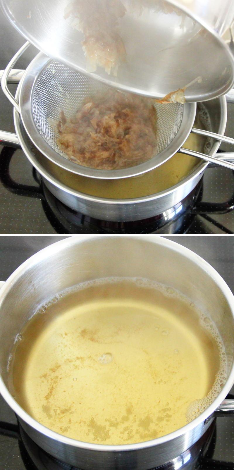 Miso-Suppe mit 3 Zutaten Schritt 4 Brühe abseihen