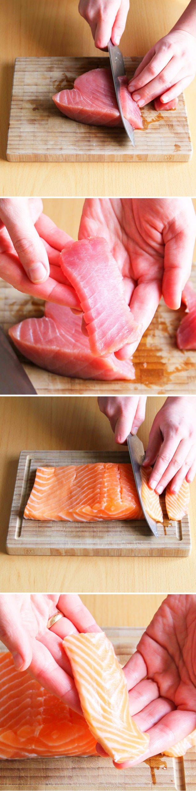 Nigiri Schritt 6 Thunfisch und Lachs vorbereiten