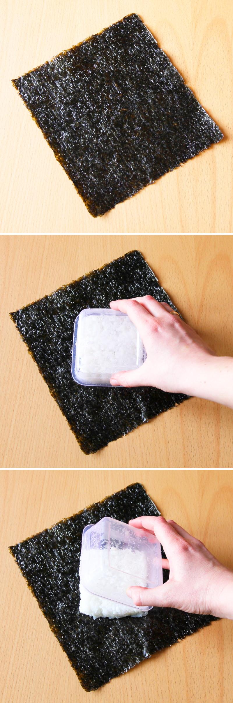 Onigirazu Sushi Sandwich Schritt 3 Reis platzieren