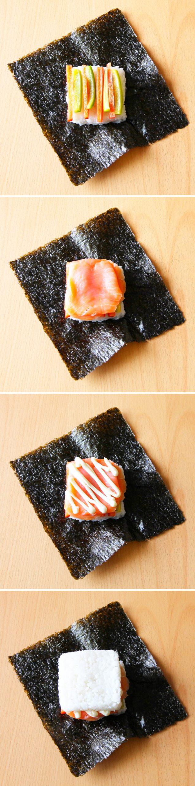 Onigirazu Sushi Sandwich Schritt 4 Füllung platzieren
