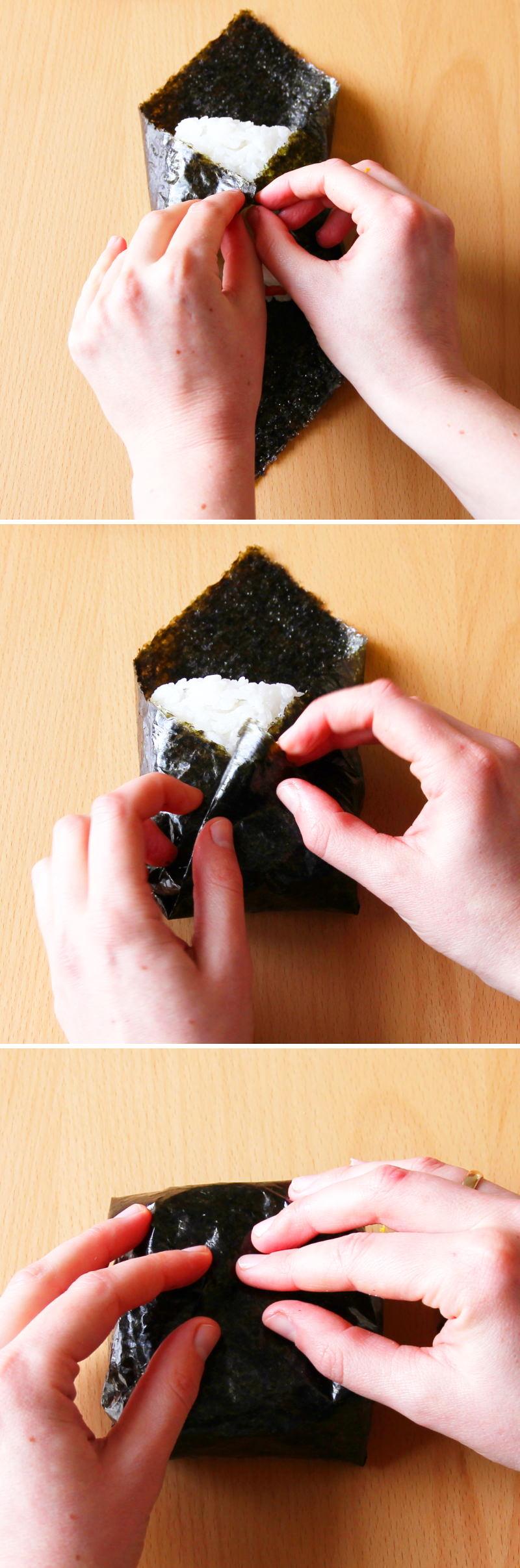 Onigirazu Sushi Sandwich Schritt 5 Nori umwickeln