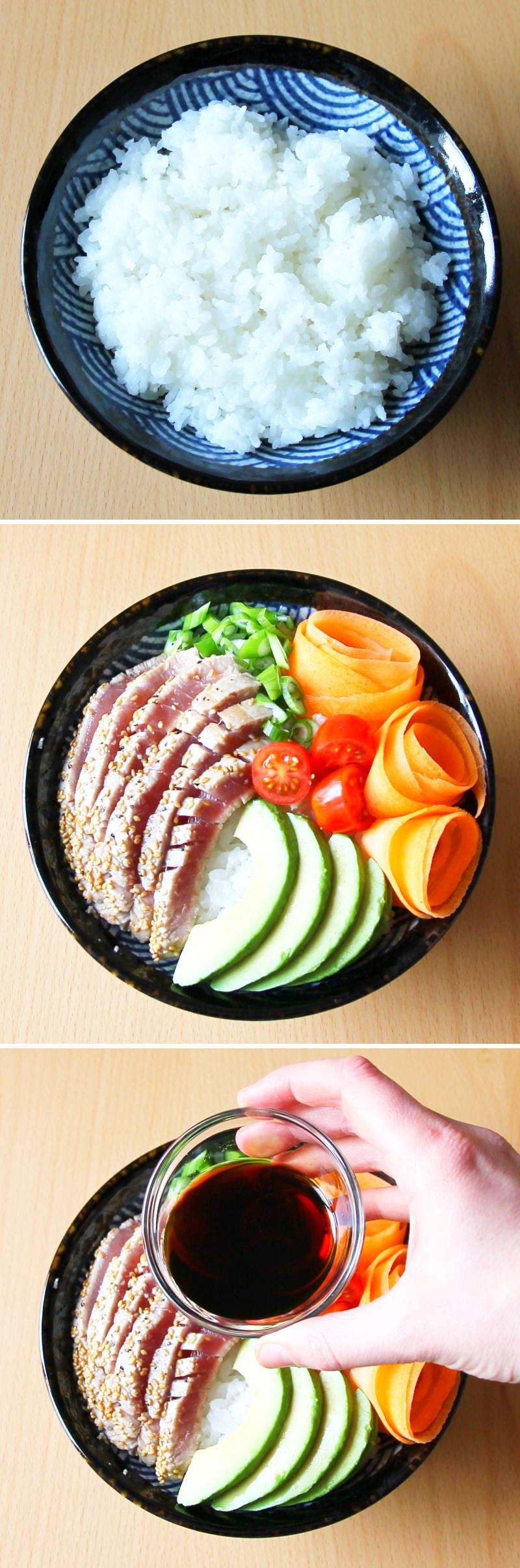 Sushi Bowl Schritt 6 anrichten