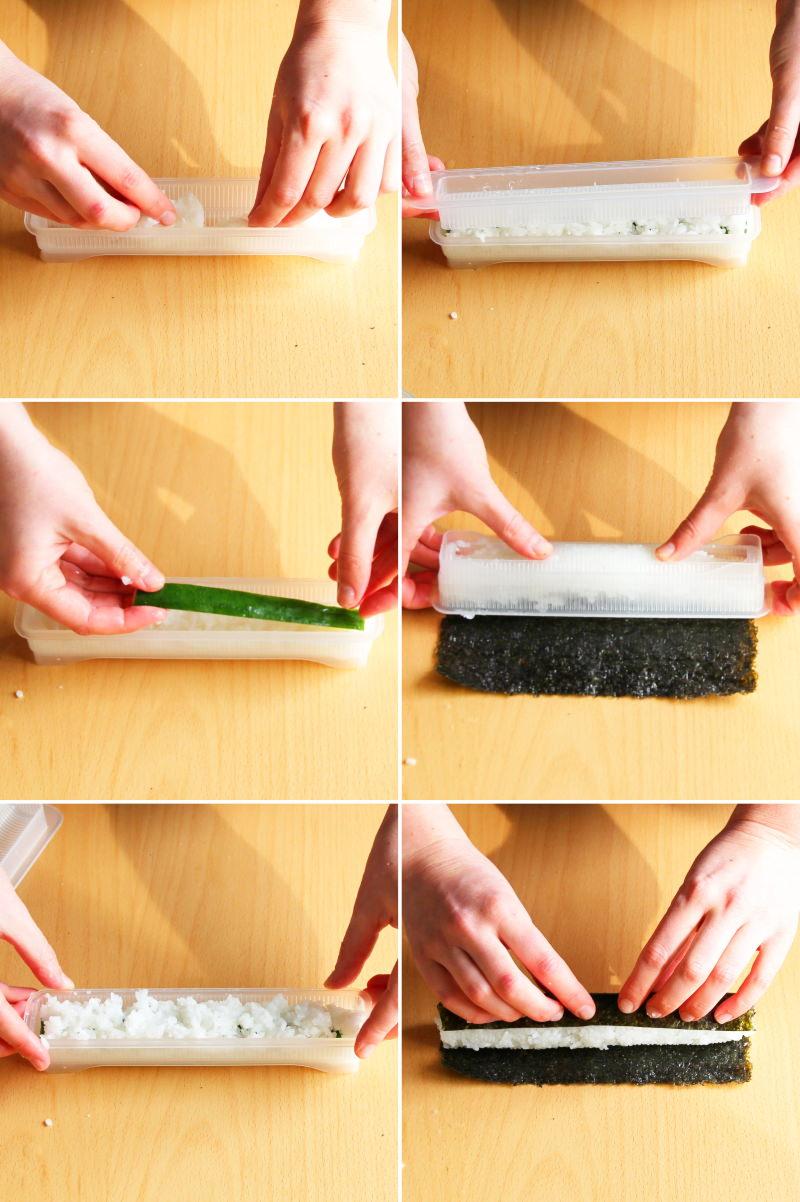 Sushi-Rollen mit Sushimaker formen