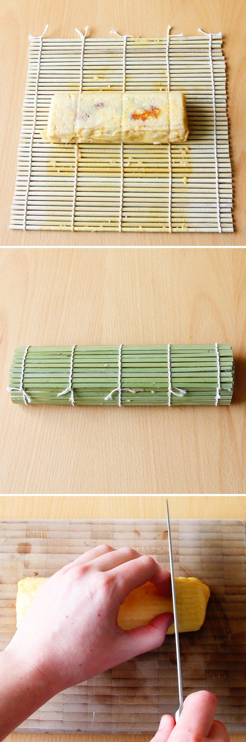 Tamagoyaki Schritt 7 ruhen lassen und schneiden