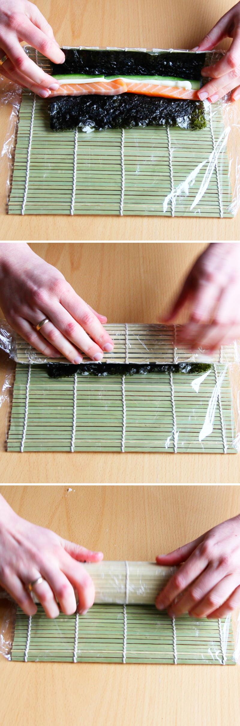 Uramaki Schritt 7 Sushi-Rolle formen