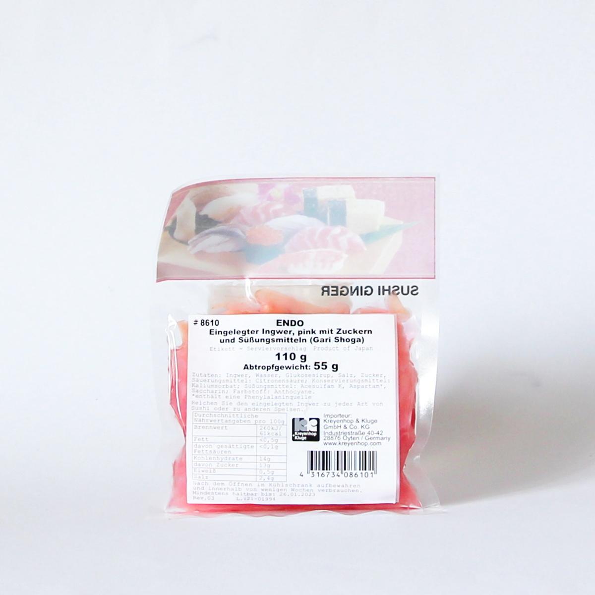 Sushi Ingwer 110g (eingelegter pinker Ingwer), ENDO