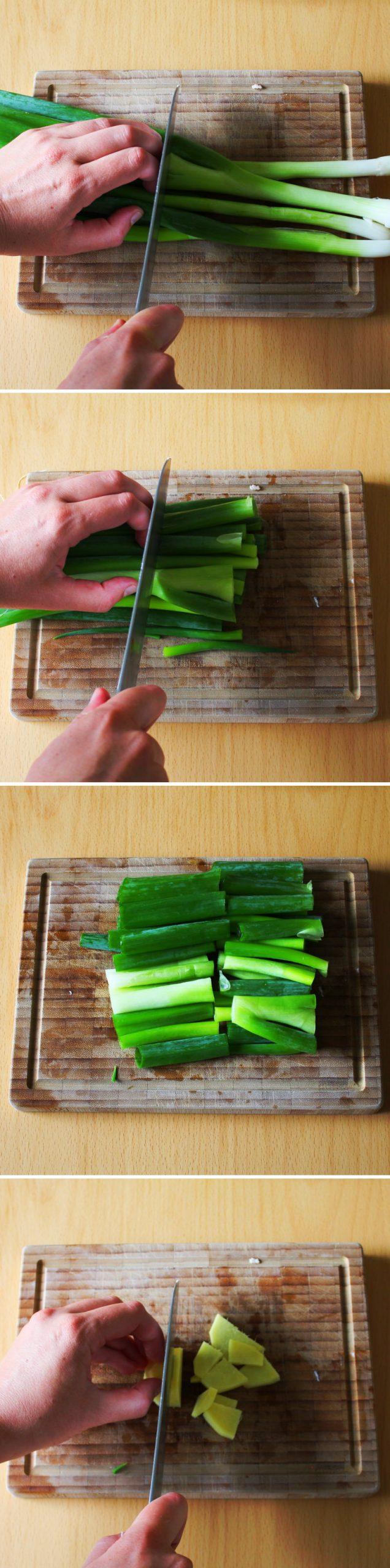 Kakuni Schritt 3 Gemüse schneiden