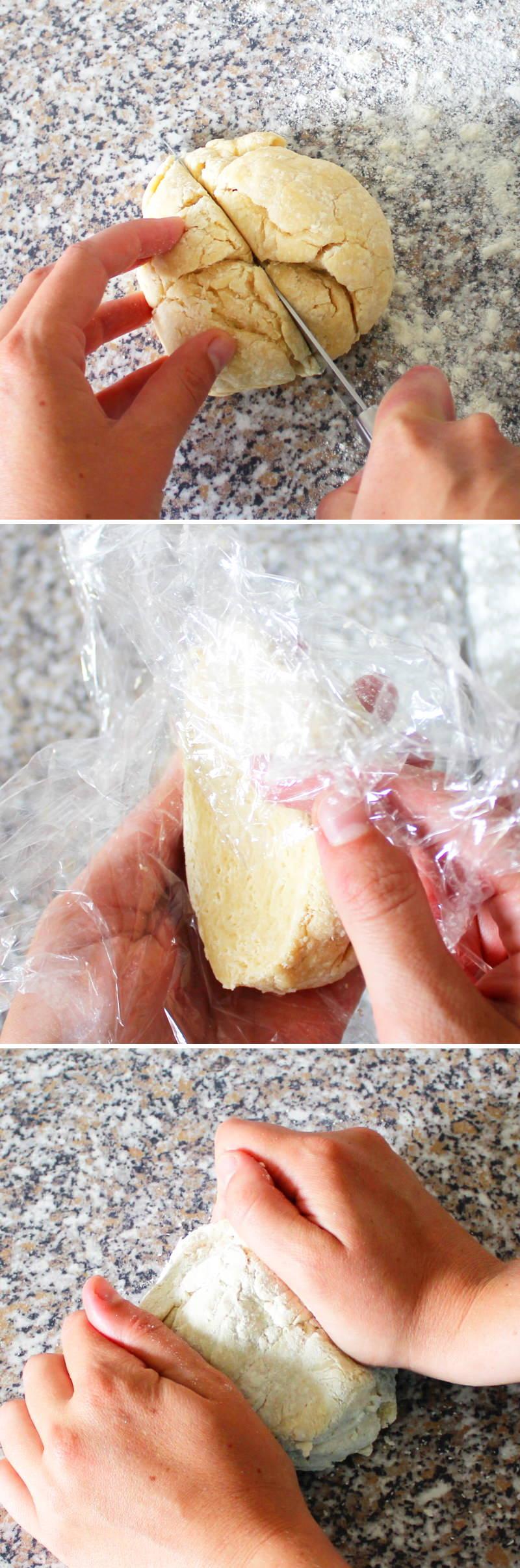 Ramen Nudeln selber machen mit Ei Schritt 6 Teig flach drücken