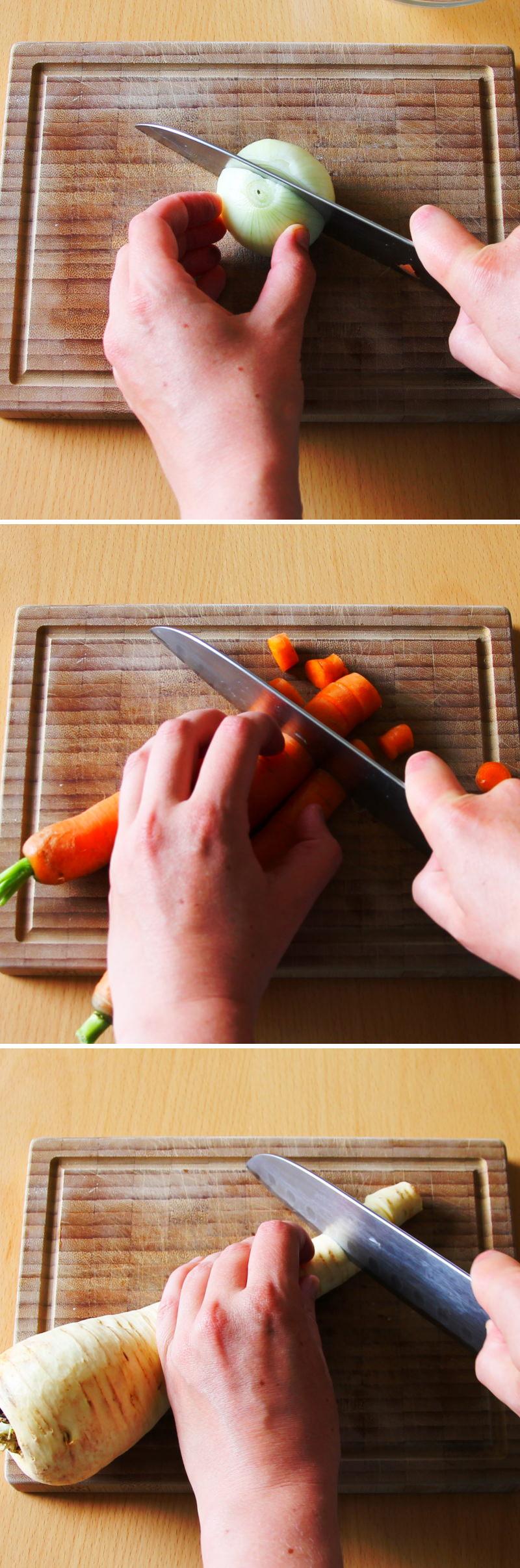 Vegetarische Ramen Schritt 2 Gemüse schneiden