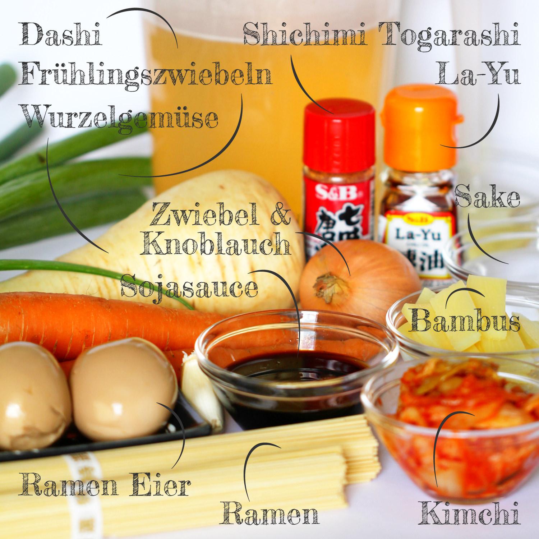 Vegetarische Ramen Zutaten